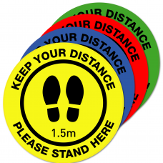 Pack of 10 - 250mm Social Distancing Floor Sign Decal Safety Sticker with Custom Logo Option