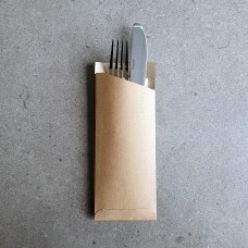 Kraft Cutlery Pouch With Napkin - 1000 per carton