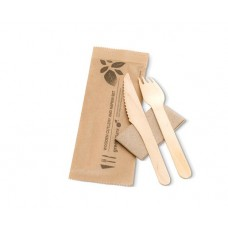 Wooden Cutlery Knife, Fork and Napkin Packs