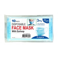 3 Ply Disposable Face Mask With Earloop 10 Pack