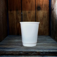 8oz Double Wall Plain White Paper Hot Coffee Cups - 500 per carton