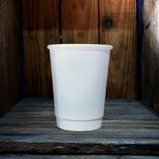 12oz Double Wall Plain White Paper Hot Coffee Cups - 500 per carton