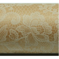 Wrapping Paper - White Lace on Kraft 50m