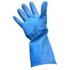 Gloves; rubber silverlined 7-7.5 small pink/blue