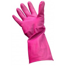 Gloves; rubber silverlined 8.5 medium pink/blue