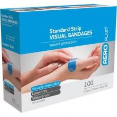 Aeroplast; standard blue visual plastic 100/pk