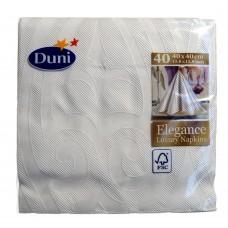 Embossed Dinner Napkins; Duni Lily Elegance White 6 x 40pk/ctn 240/ctn