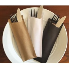 Kraft Cutlery Napkin Pouch Pack Sleeves - Pochetta with 2ply Napkin 350 per box