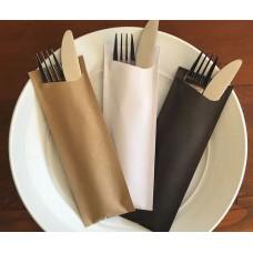 Cutlery napkin Packs; Kraft 85 x 190mm Pochetta  350/ctn