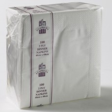 2ply Dinner Napkins - White 400 x 400mm