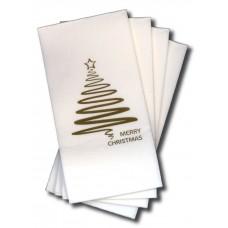 Quilted Dinner Napkins; GT Fold gold Xmas tree 10 x 100pk/ctn 1000/ctn