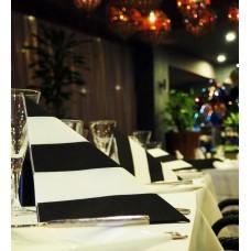 Linen Feel Dinner Napkins - Dunilin Luxury Black & White Stripe 40 x 40cm