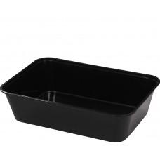 Rectangular Container; Black Plastic 500ml - 500 per carton