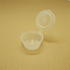 Plastic Round Portion Container; 35ml sauce cup hinged lid 50 per pack