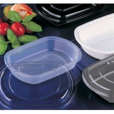 Plastic Rectangular Containers; Black Homeal 750ml 5 x 50pk/ctn 250/ctn