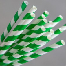 Straws; Regular paper green & white stripe  2500/ctn