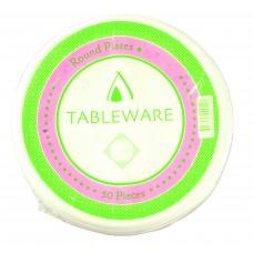 "10"" White Round Plastic Plates 255mm - 200 per carton"