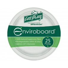 "Enviroboard Plates; round 10"" 255mm 10 x 25pk 250/ctn"
