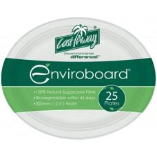 "Enviroboard Plates; Oval 12.5"" 320mm 10 x 25pk 250/ctn"