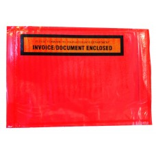 Document Envelopes - Red 'Invoice Enclosed' 115x165mm 1000ctn