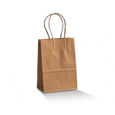 Brown Kraft Paper Bag; baby 200x140mm+80mm G twist handle 500/ctn