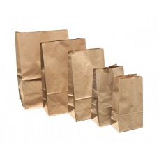 No.12 Brown Block Bottom Kraft Paper SOS Bag 500 pack