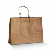 Brown Kraft Paper Bag;  Twist handle 350mm wide x 260H + 100mm G 250/ctn