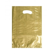 Plastic Bag; die cut handle small 255 x 360mm gold 10 x 100pk/ctn 1000/ctn