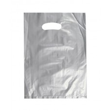 Plastic Bag; die cut handle small 255 x 360mm silver 10 x 100pk/ctn 1000/ctn
