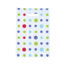 Plastic Bag; die cut handle small 255 x 360mm polka dot 10 x 100pk/ctn 1000/ctn