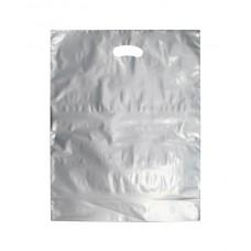 Plastic Bag; silver die cut handle large 500 x 415mm + 50mm gusset 5 x 100pk/ctn 500/ctn