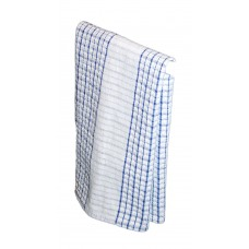 Teatowel; 480 x 770mm blue check heavy weight