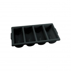 Plastic Cutlery Box with 4 Compartments (Black)
