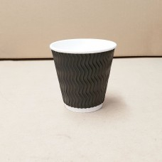 Coffee Cups; triple wall uni-wave 8oz squat black - 25 per pack