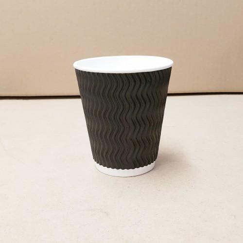 12oz Coffee Cups - Triple Wall Charcoal Wave Pattern - 500 per carton