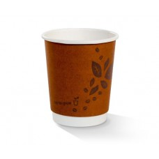 Coffee Cups; double wall PLA brown printed 'Cup to grow' 8oz  500/ctn