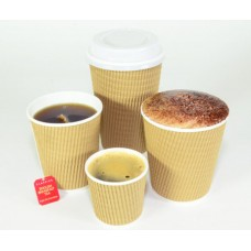 Coffee Cups; tripled natural brown 4oz - 25 per pack