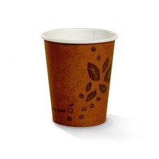 Coffee Cups; single wall 8oz PLA coated brown C2G printed 20 x 50pk/ctn 1000/ctn