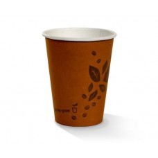 Coffee Cups; single wall 12oz PLA coated brown printed 20 x 50pk/ctn 1000/ctn