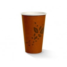 Coffee Cups; single wall 16oz PLA coated brown printed 20 x 50pk/ctn 1000/ctn