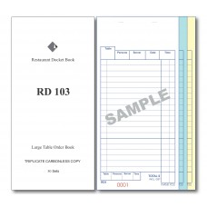 Docket Book; 103 large table order triplicate carbonless 50 sets 100/ctn
