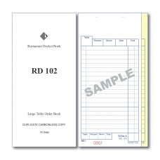 Docket Book; 102 large table order duplicate carbonless 50 sets 100/ctn