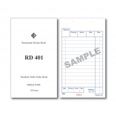 Docket Book; 401 standard table order single copy carbonless 100 pages 100/ctn
