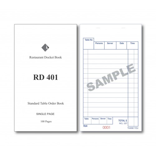 Docket Book; 401 standard table order single copy carbonless 100 pages 100/ctn