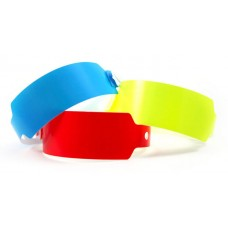Plastic Wristbands Wide - Neon Blue 20/pk