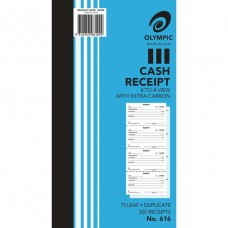 Cash Receipt Book; 4 to a page