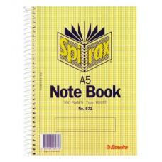 Spirax 571 Notebook A5 150 Leaf 210 x 148mm 5pk